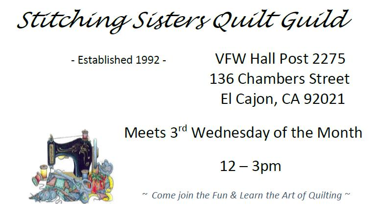Stitching Sisters Quilt GuildSponsor: First Place Traditional Piecing - Meets 3rd Wed. each month