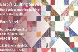 Barbi's Quilting Service - Sponsor: Best Track Machine Quilted