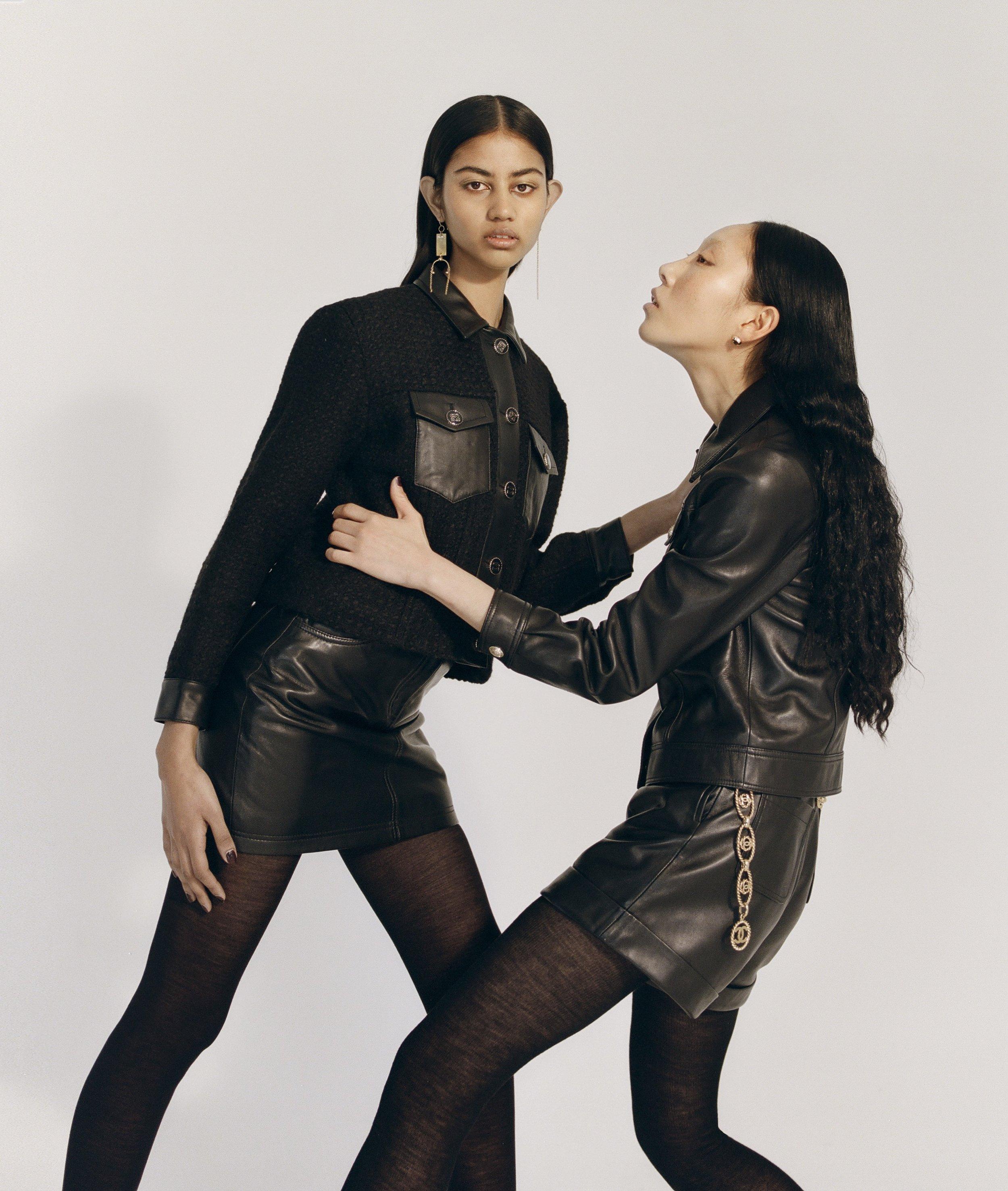 Varsha wears Sandro jacket, Claudie Pierlot skirt and Petit Grand earrings Lim Lee wears Claudie Pierlot jacket and Sandro shorts