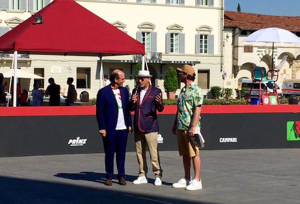 Raffaello Napoleone, left, with Christian Louboutin introducing Bike Polo at Pitti Uomo