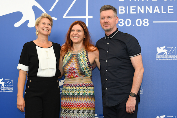 LA BIENNALE DI VENEZIA, PHOTO ASAC  From left, Trine Dyrholm, Susanna Nicchiarelli and John Gordon Sinclair