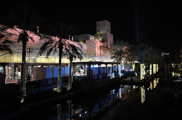 PHOTO BY NEILSON BARNARD/GETTY IMAGES FOR DIFF  A view of Madinat Jumeirah on the opening night of the 14th Dubai International Film Festival