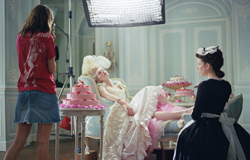Sofia Coppola (left) and Kirsten Dunst on the set of 'Marie Antoinette', photographed by Brigitte Lacombe