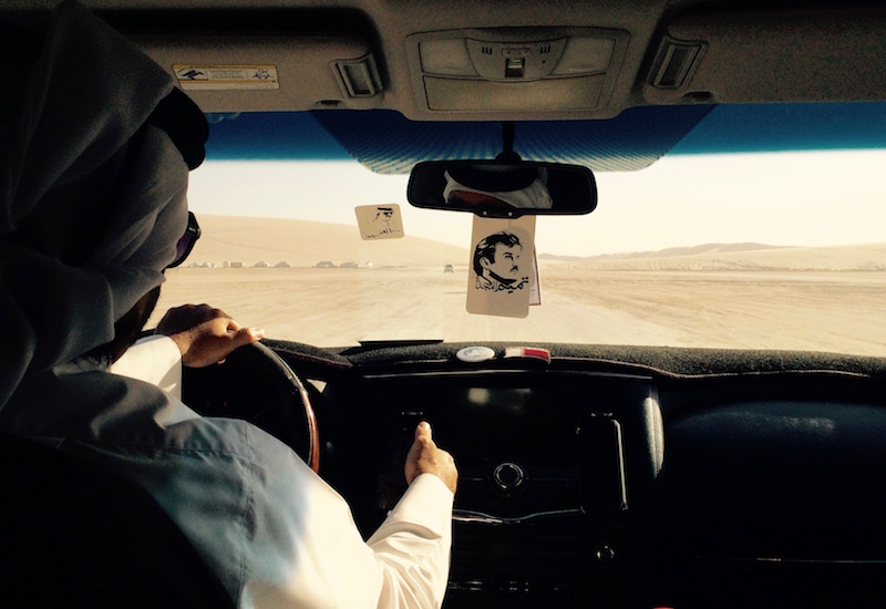 Traveling through the desert in Doha