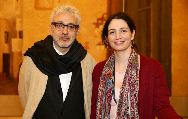 Hanaa Issa with filmmaker Elia Suleiman at a DFI event