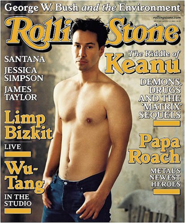 Keanu Reeves on the cover of Rolling Stone