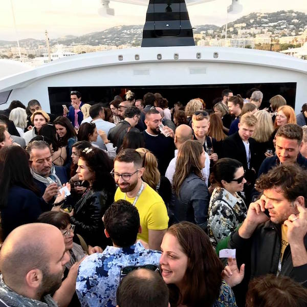 The crowd at El Gouna Film Festival's cocktail party in Cannes