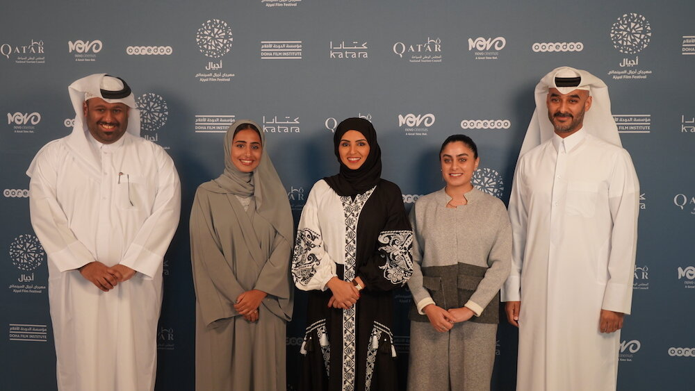 Fatma Al Remaihi, CEO of the Doha Film Institute, flanked by the managing team of the Ajyal Film Festival
