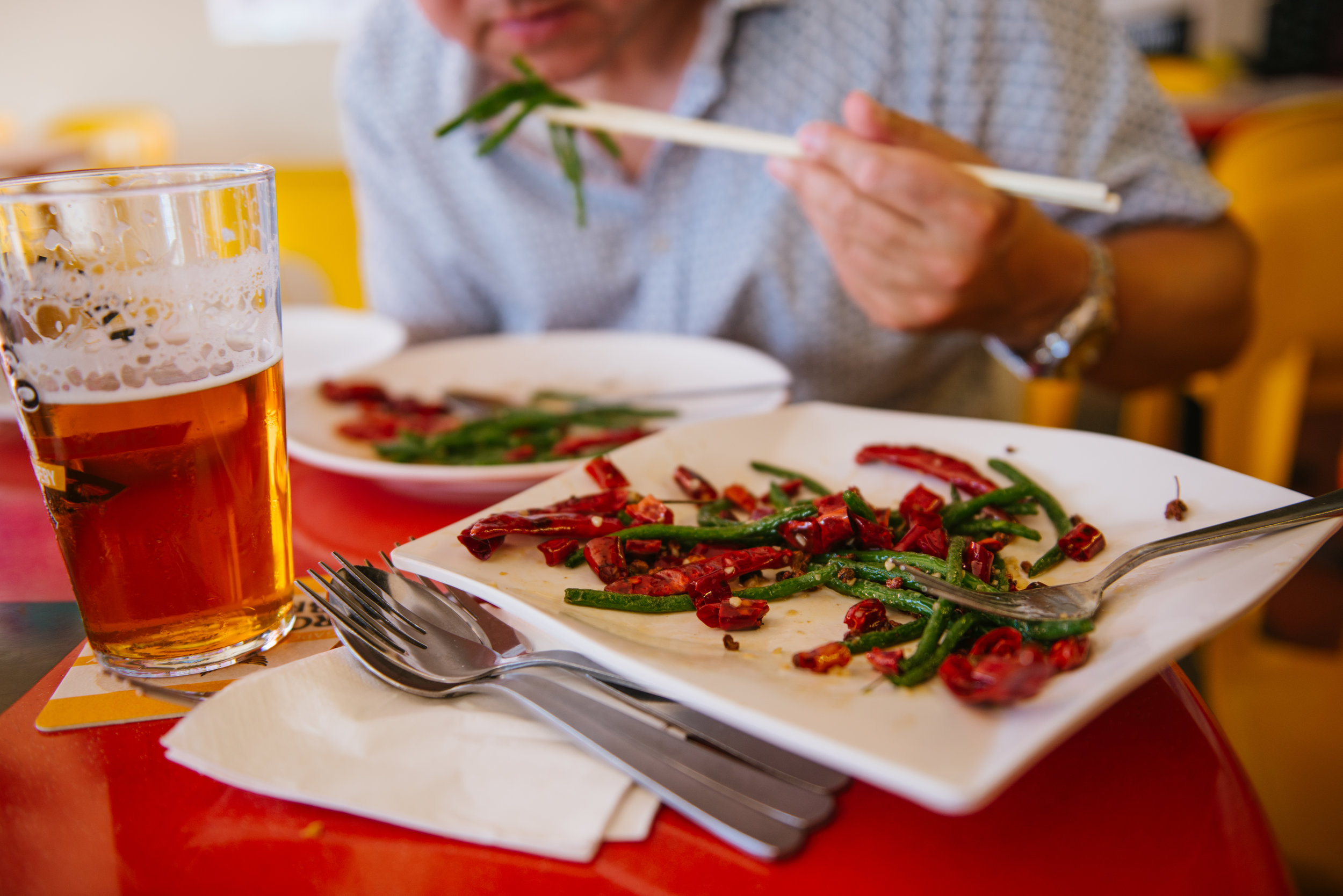 Chilli green beans and Singapore Blonde Ale.