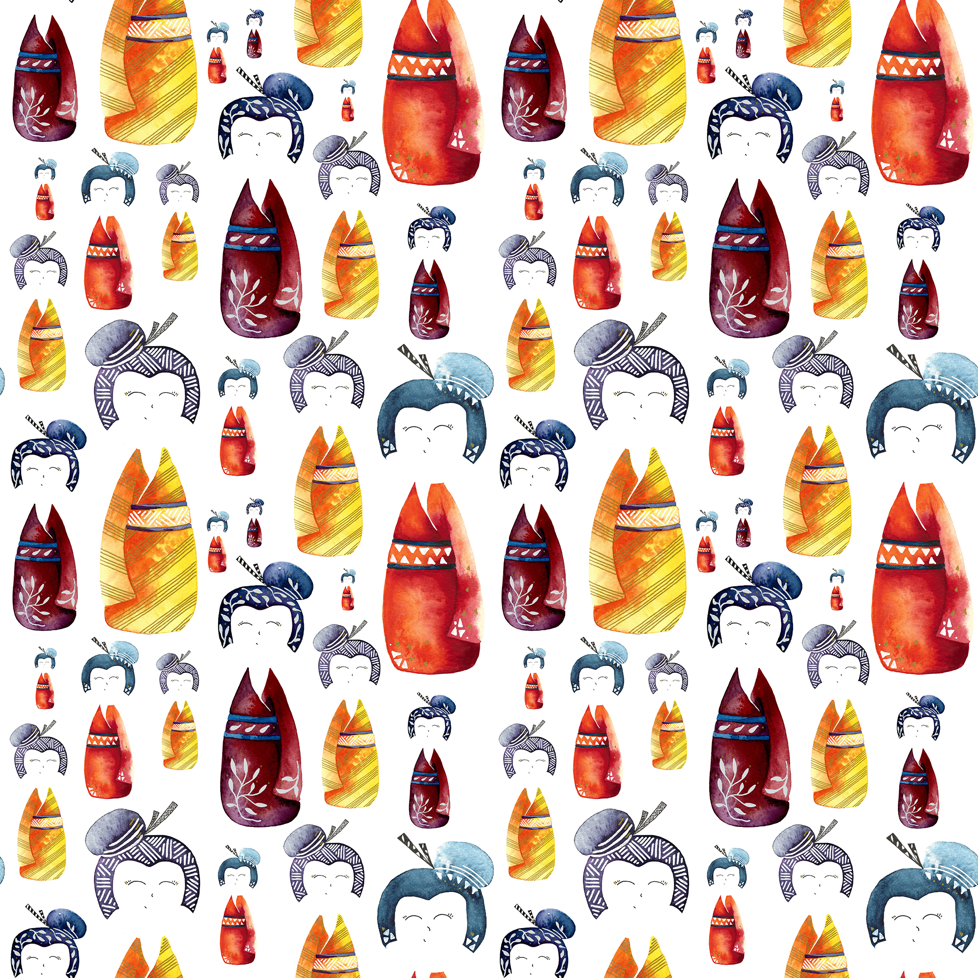 Colourful kokeshi dolls with white faces on a white background - repeat pattern