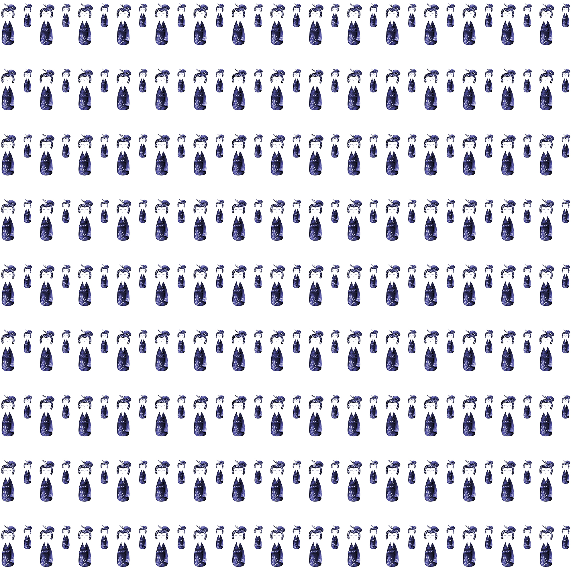 Tiny Navy Blue Kokeshi dolls on rows on a white background - repeat pattern