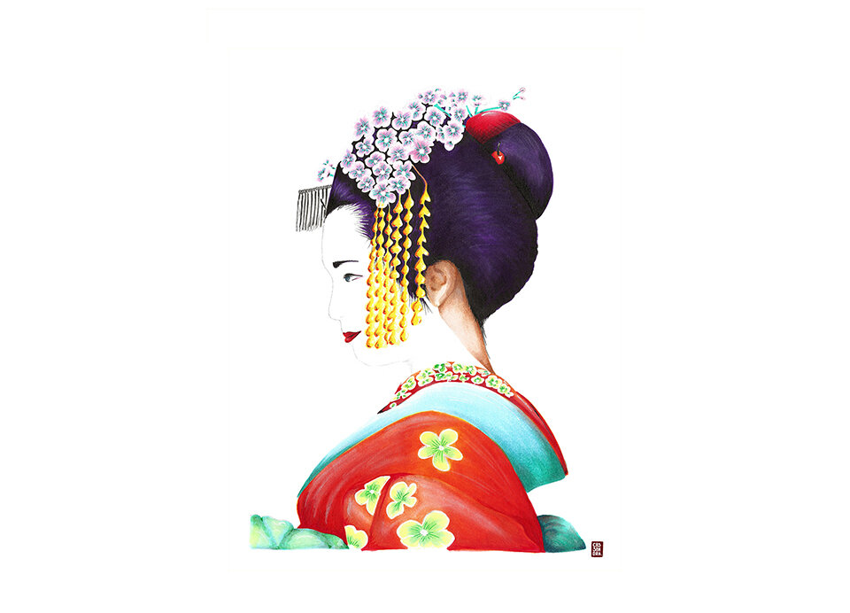 Colourful Geisha - available on both Society6 and Spoonflower