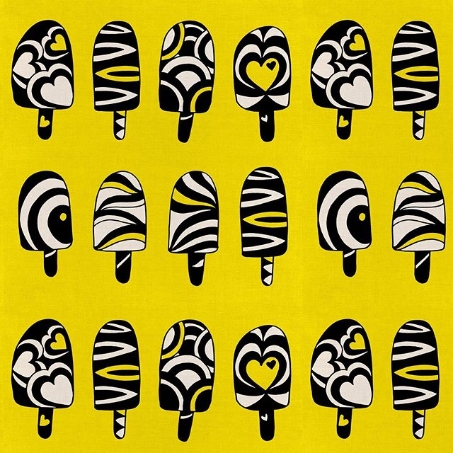 "I love how funky these funky ice pops are as a pattern. It's good fun to take something and make it ""unrealistic"". I also love the colour combination of black and white on yellow. This pattern is available at both society6 and spoonflower. The mock up photos here and from Society6. #imagesbycassandra_designs #cassandraoleary #pattern #surfacedesigner #patterndesign #surfacedesign #wallpaper #interiordesign #overallprint #surfacepatterns #fabric #textiledesign #patternlove #repeatpattern #illustrator #illustration #textiledesigner #letsmakeart #textiledesign #surfacepatternprint #surfacepatterndesign #designsforfabric #society6 #spoonflower"