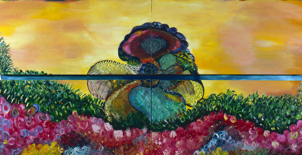 """The Sacred Garden of Eve, 1989    Oil on Canvas (37"""" x 72"""")    Fontana Collection New York"""
