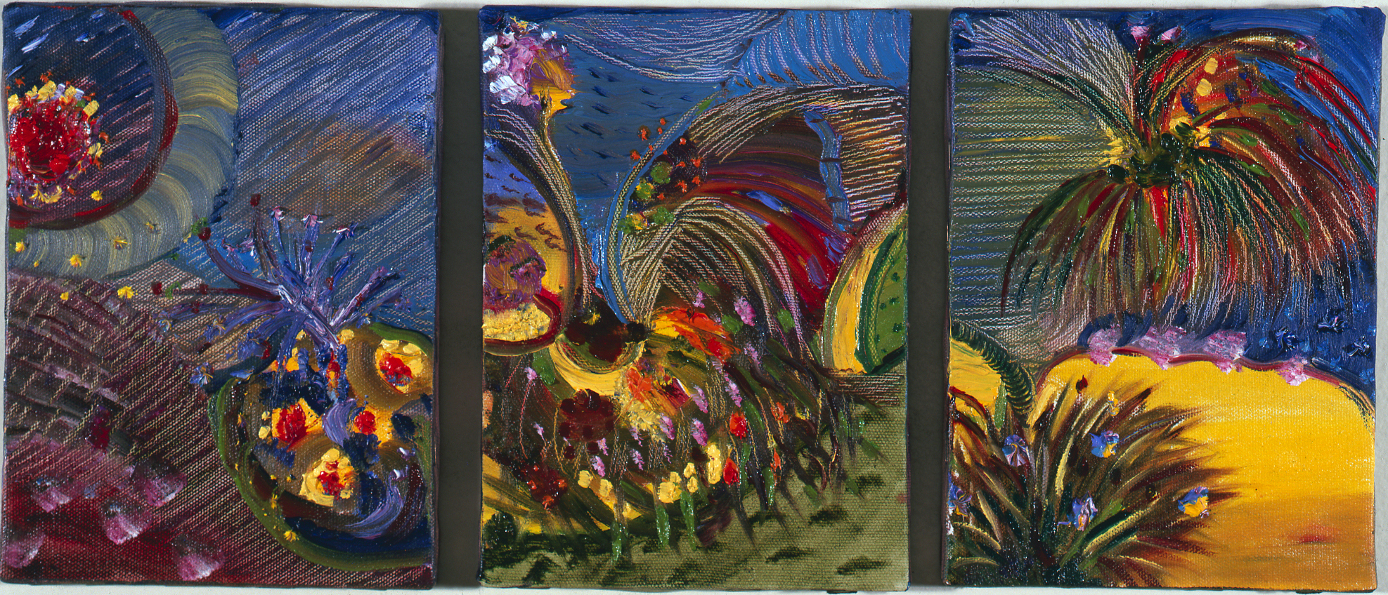 """The Garden of the Three Goddesses, 1989    Oil on Canvas (9"""" x 19"""")    Private Collection, New York"""