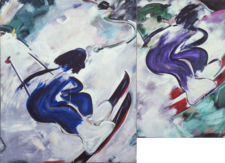 Skiers, 1983    Acrylic on Canvas (64 x 90)    Museum of Modern Art of Rio de Janerio