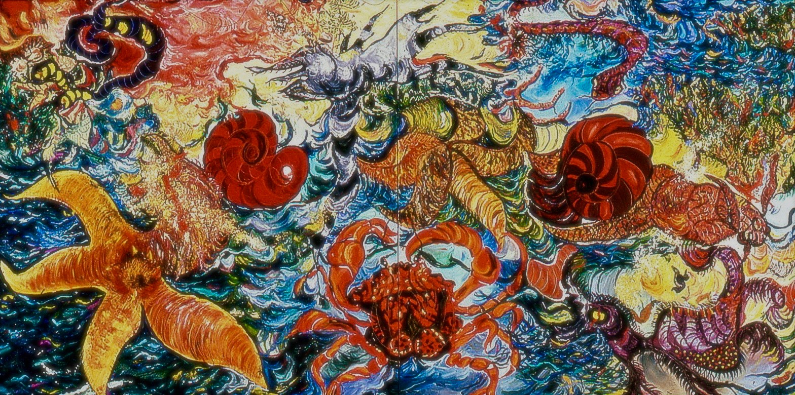 "Is Mattisse in the Ocean, and Crabs in the Sky?    Oil on Canvas 1985- 60""x120"""