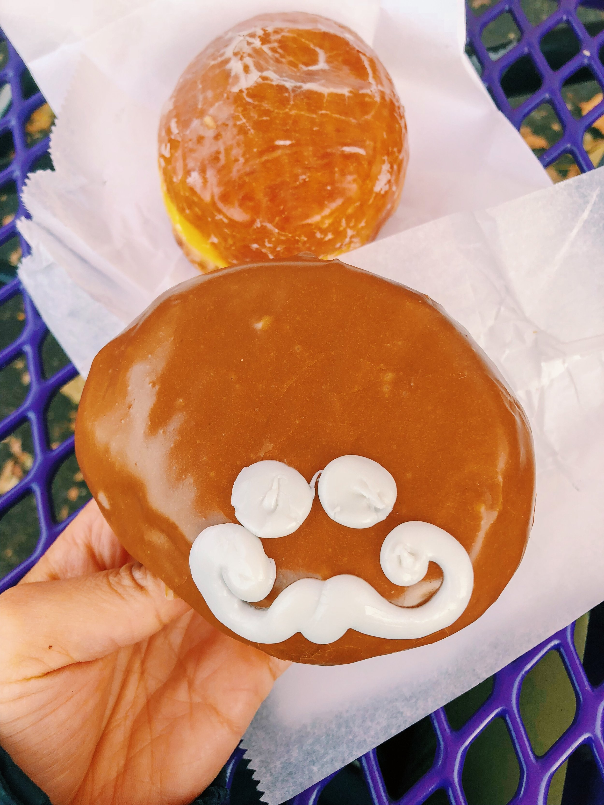 McMinville Cream  from  Voodoo Donuts  - filled with Bavarian Cream and topped with Maple Icing!