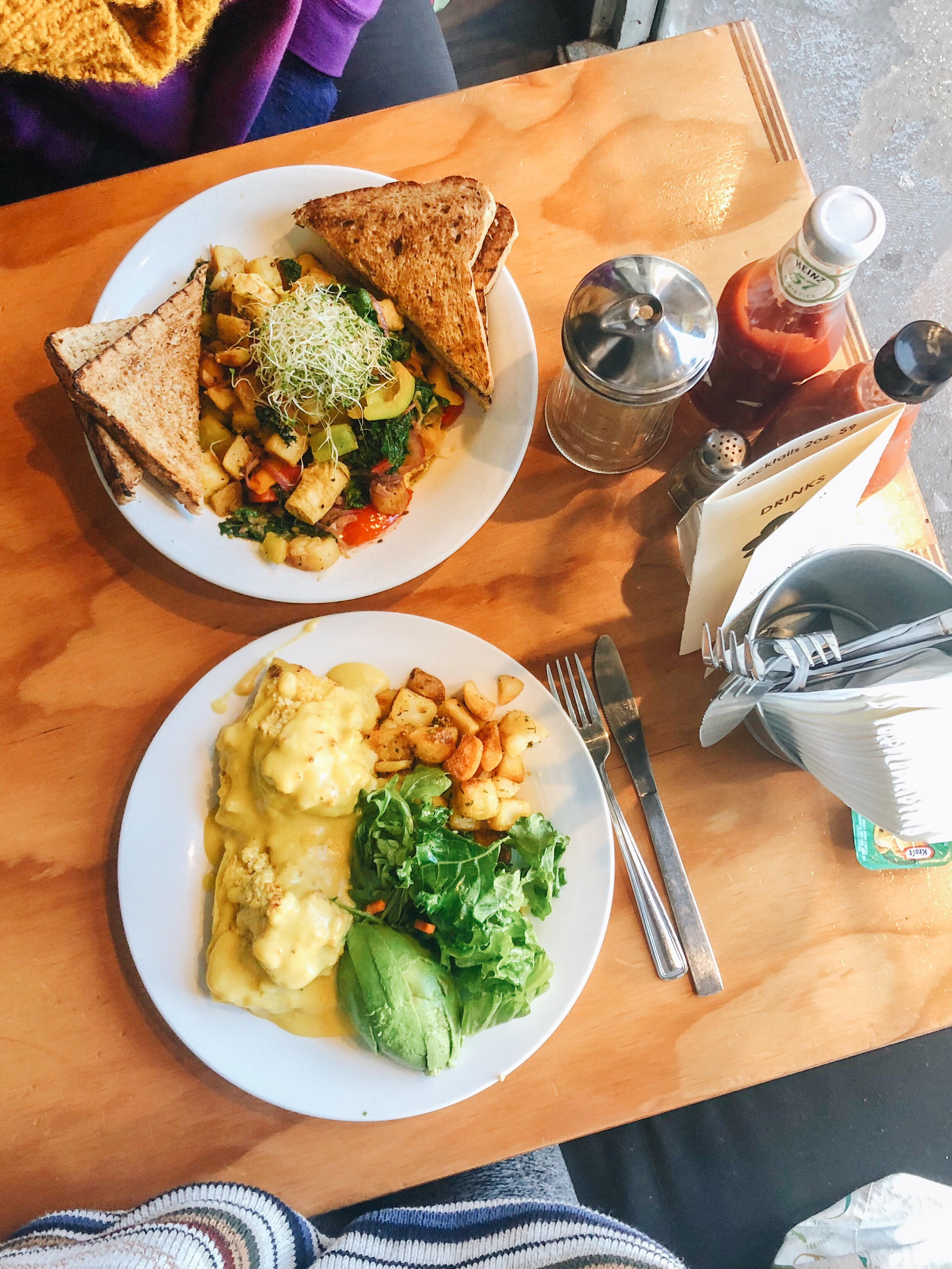 Thai Curry Hash and Vegan Benny (No Sausage, add Fried Polenta + add Avocado) from   WALLFLOWER DINER   in Mt Pleasant