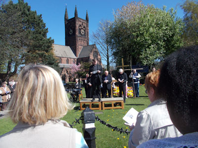 The ecumenical service in West Derby village by St Mary's Anglican Church on Good Friday