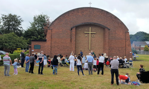Outdoor Mass at St Timothy's in the Lourdes at Home week.