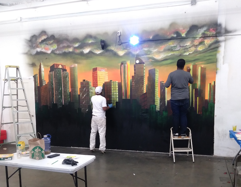 Work in progress mural for Executive Kush Lounge in Los Angeles.