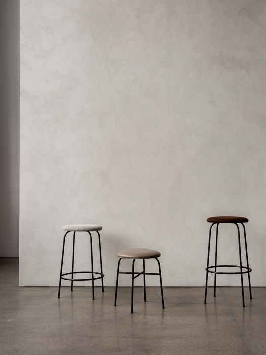 Afteroom Bar Stool - The Afteroom Stool is rendered in black powder coated steel and comes with or without an upholstered seat. The stool is available in three heights—stool, counter stool, and bar stool—making it easy to slide up against a bar or keep in the home as small-space or additional seating.