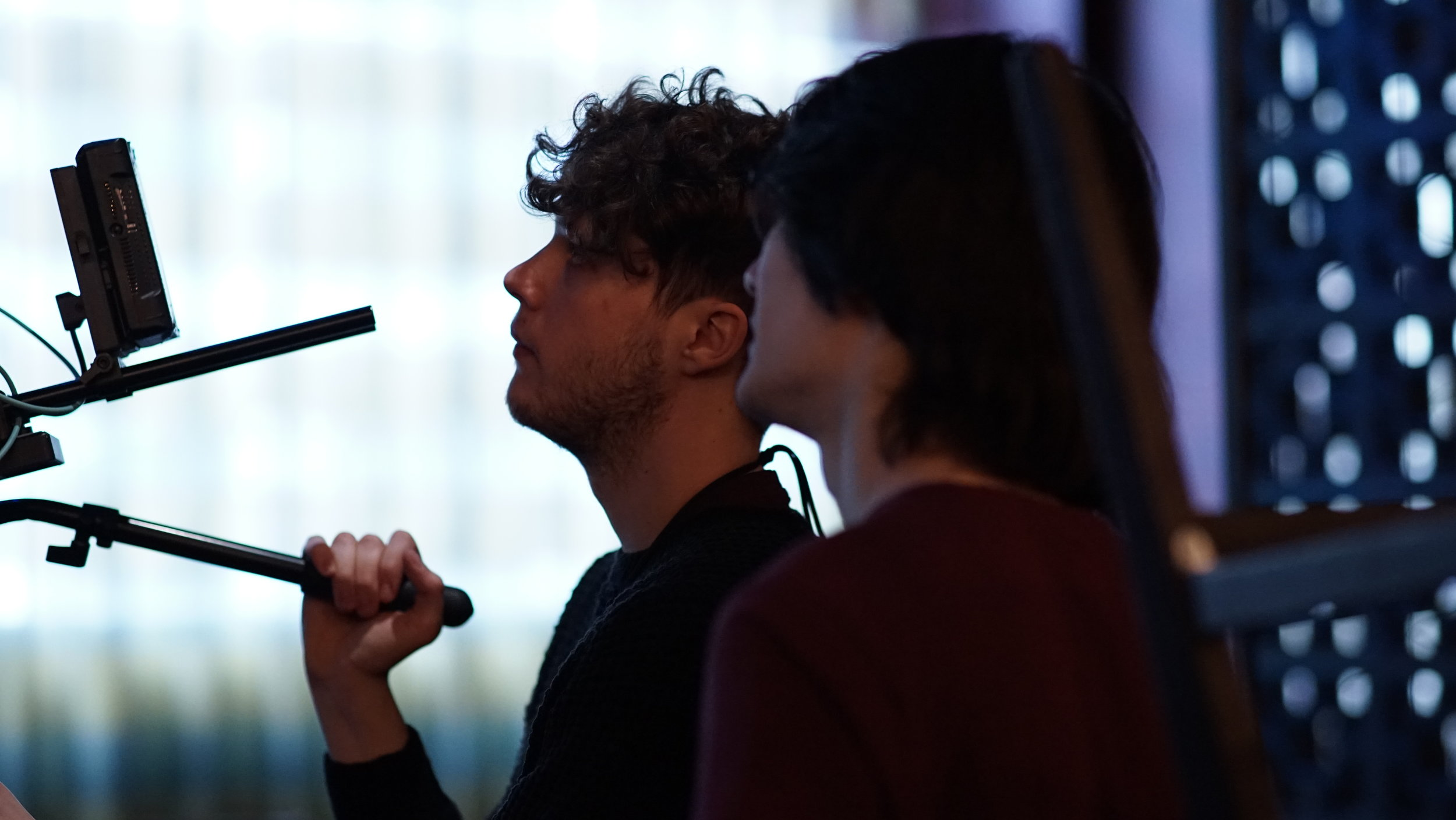 "Director Aeddan Sussex & DOP Roan Lenihan compose a shot on the set of ""Chopsticks!"", 2018.  Shot on the Sony A7II with a 85mm Lens."