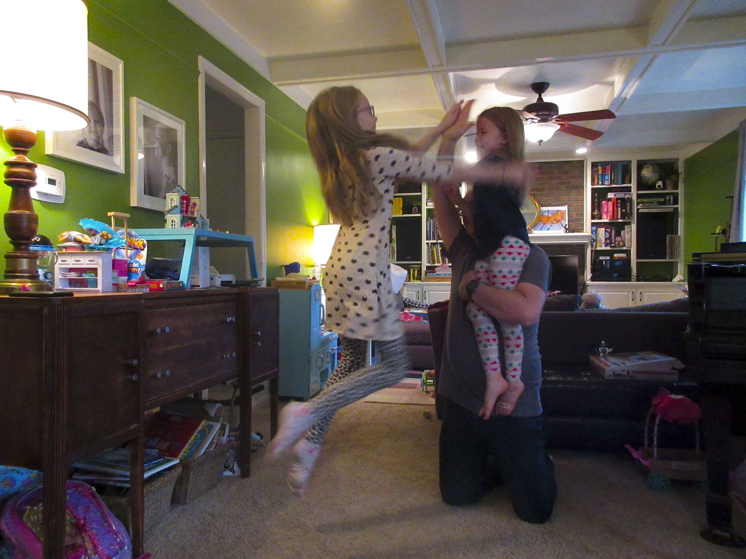 My daughter capturing a hi-five shot with her self timer to celebrate our completion.