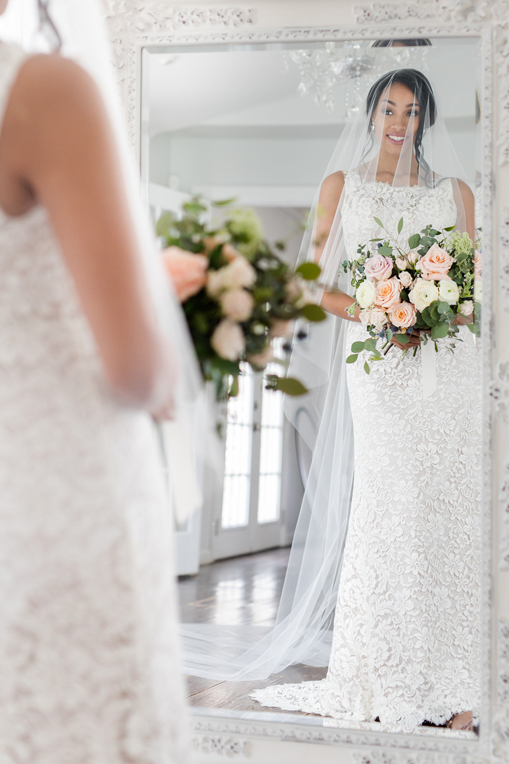 Jacqueline classic cathedral veil with blusher