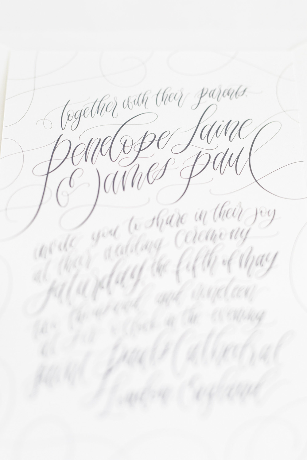 Honey Bee Letters hand made calligraphy invitations