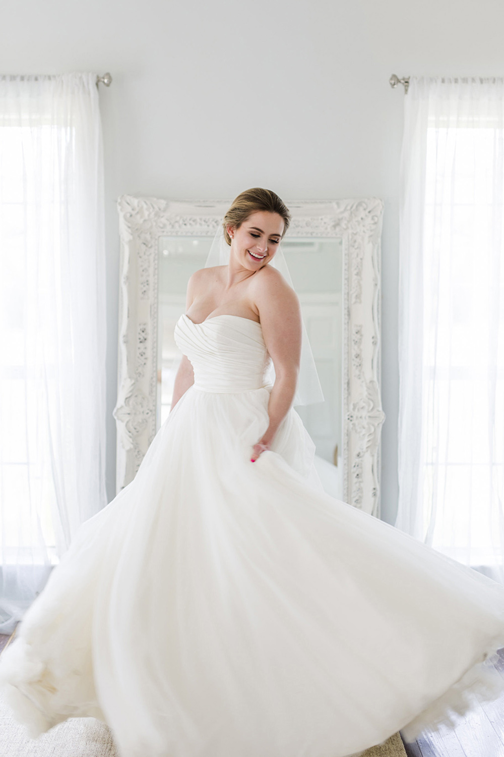 Charlotte two-tiered fingertip veil with blusher | Petal & Veil