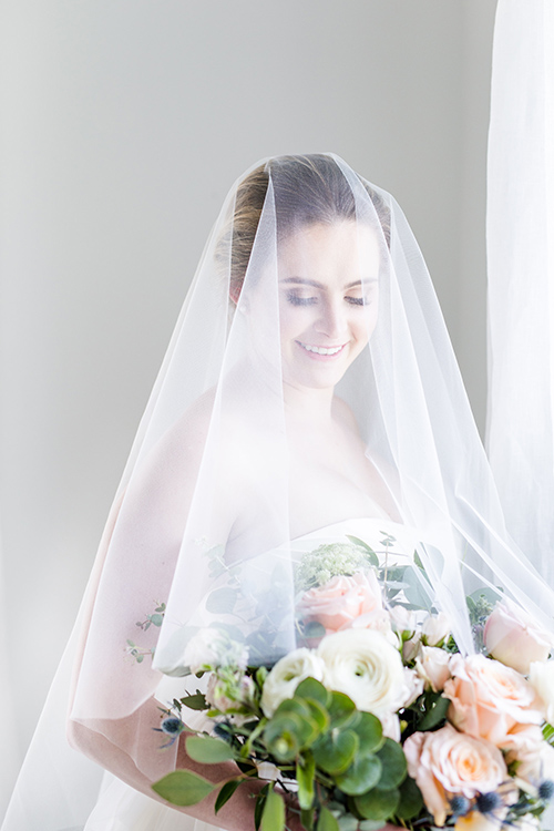 Floating chapel veil with blusher