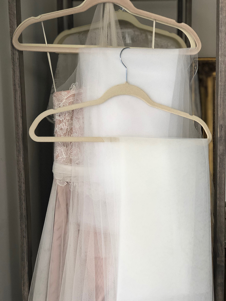Nude Dress with White Tulle Detail
