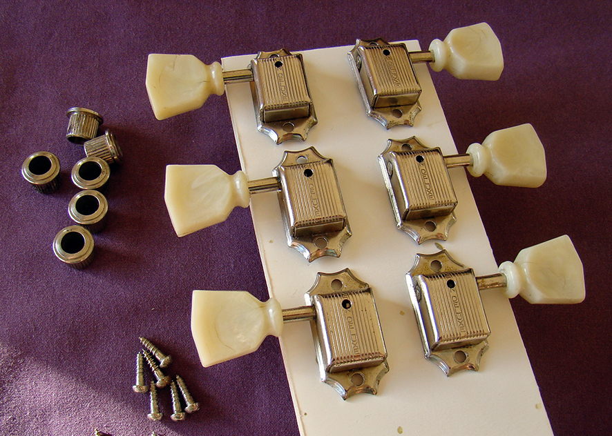 ORIGINAL KLUSON TUNERS  We have a large selection of vintage Kluson tuners in stock. 'no lines', 'single lines','double lines' and 3-as-side strip tuners for Juniors etc. We also have a selection of pat.pending Grovers. Click below to see more  Price: POA