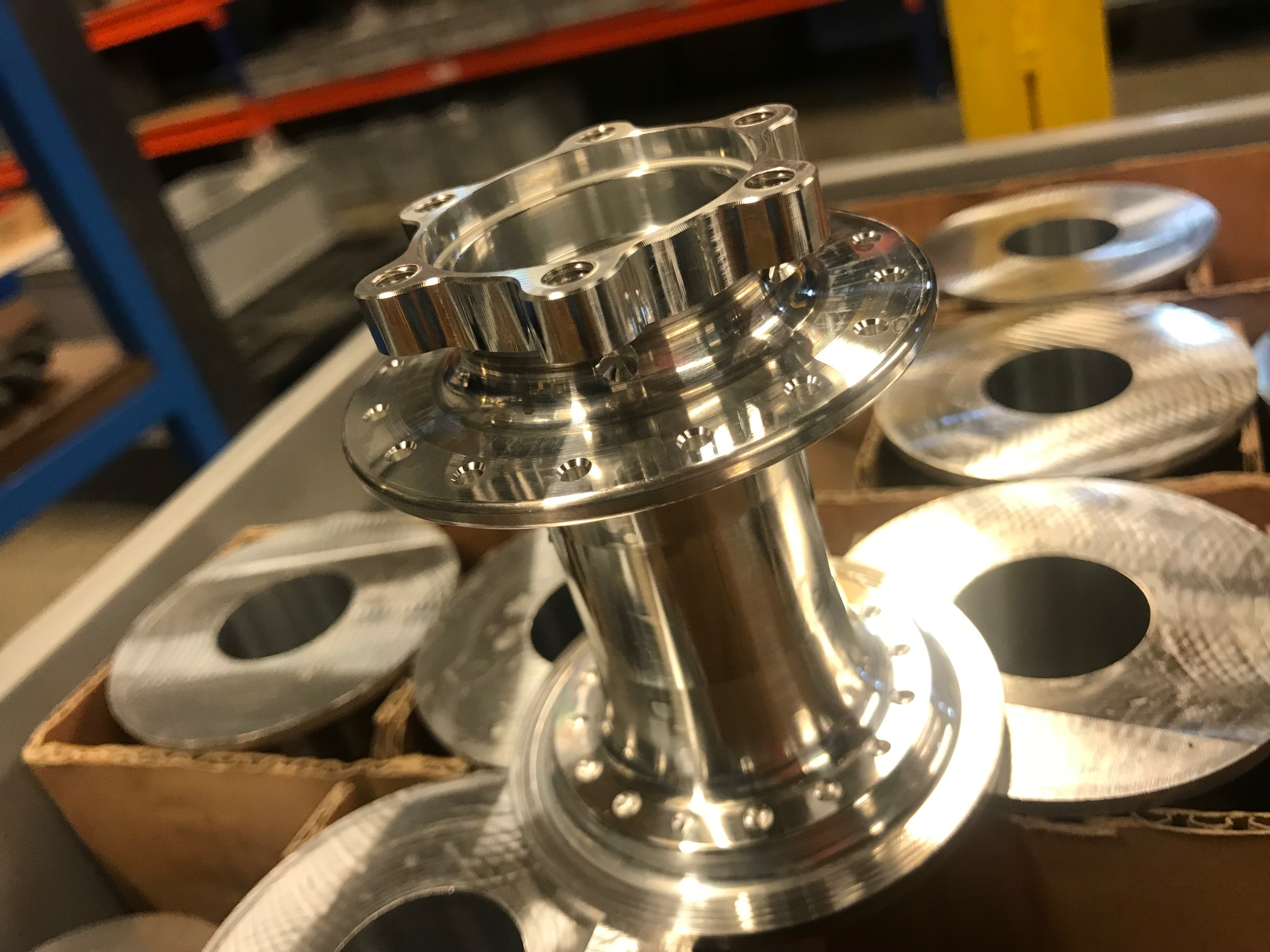 Hubs + Hubshells - Manufactured to customer's designs from custom forged 7075 T651 material. 24/7 production with a robot loading cell for maximum efficiency.MOQ - 100 p/size/modelPrice: Asia competitive - complex straight pull designs most competitive.
