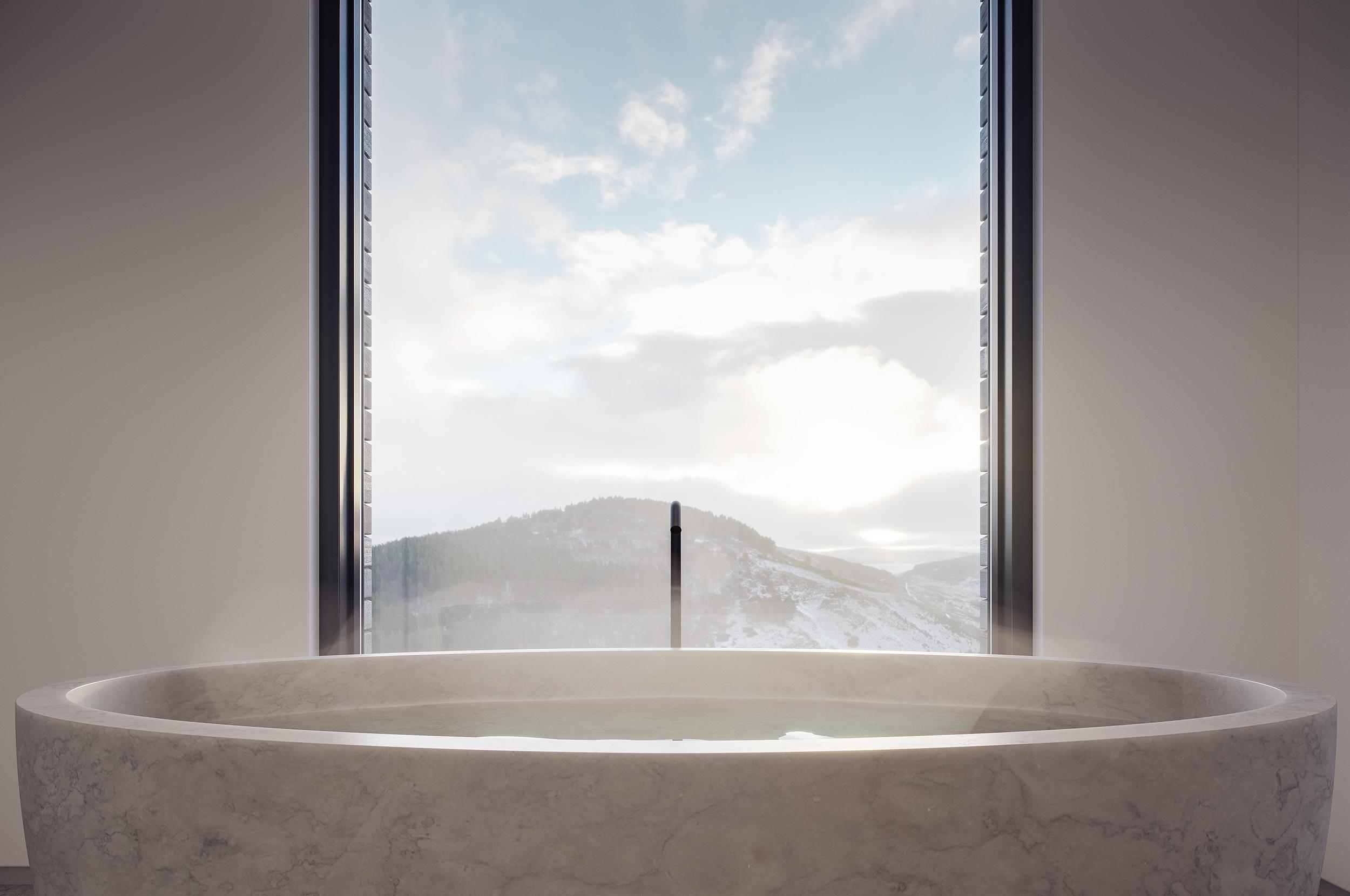 bath, luxury, cairngorms, views, scotland, highlands, landscape
