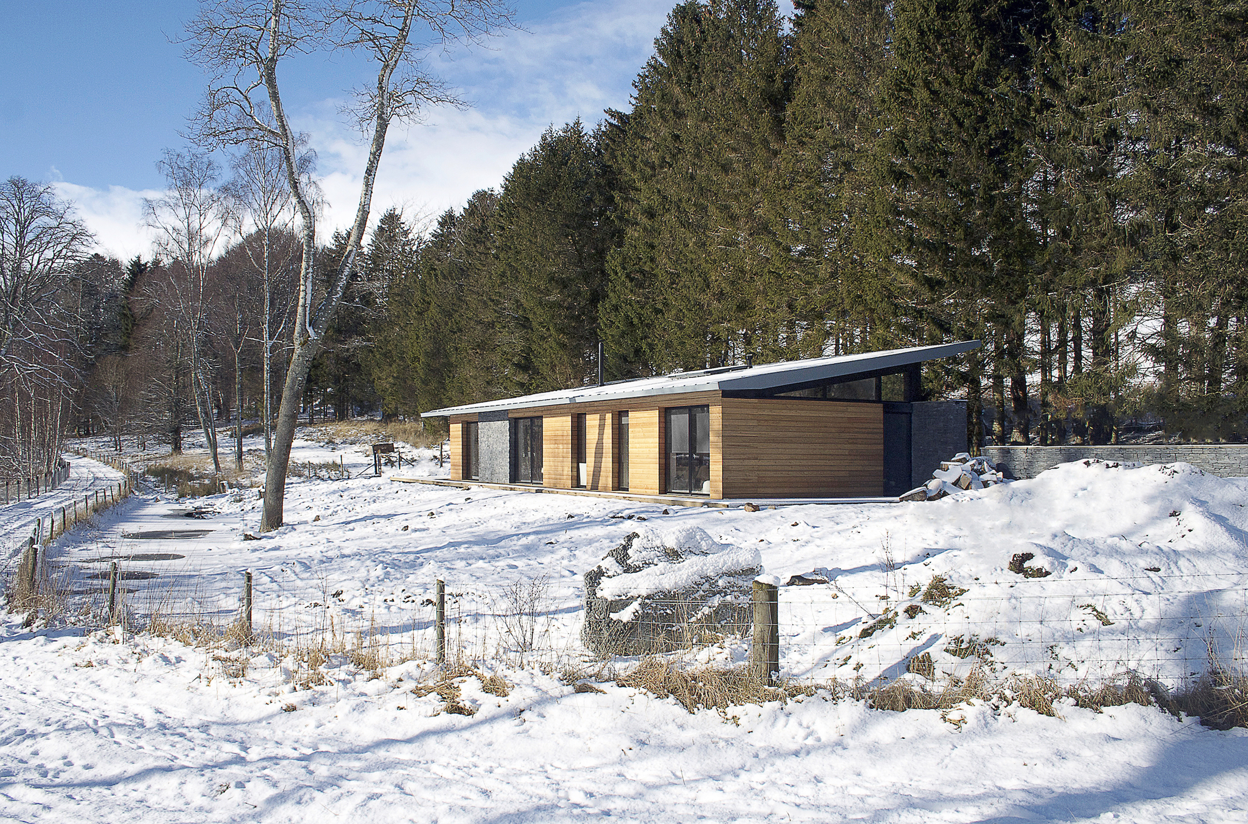 strathdon, house, home, timber, glass, stone, landscape, trees, snow
