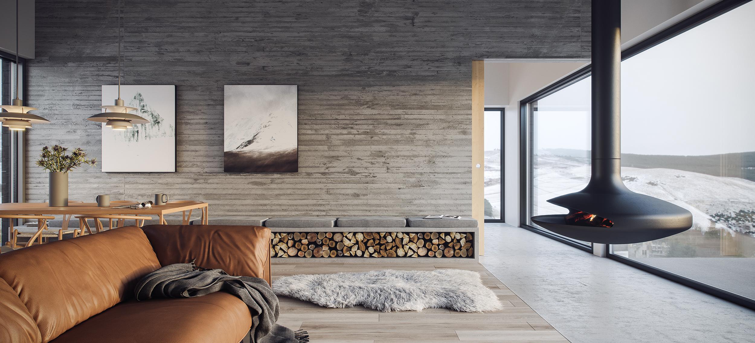 stove, gyrofocus, concrete, timber, glass, view, highlands, cairngorms