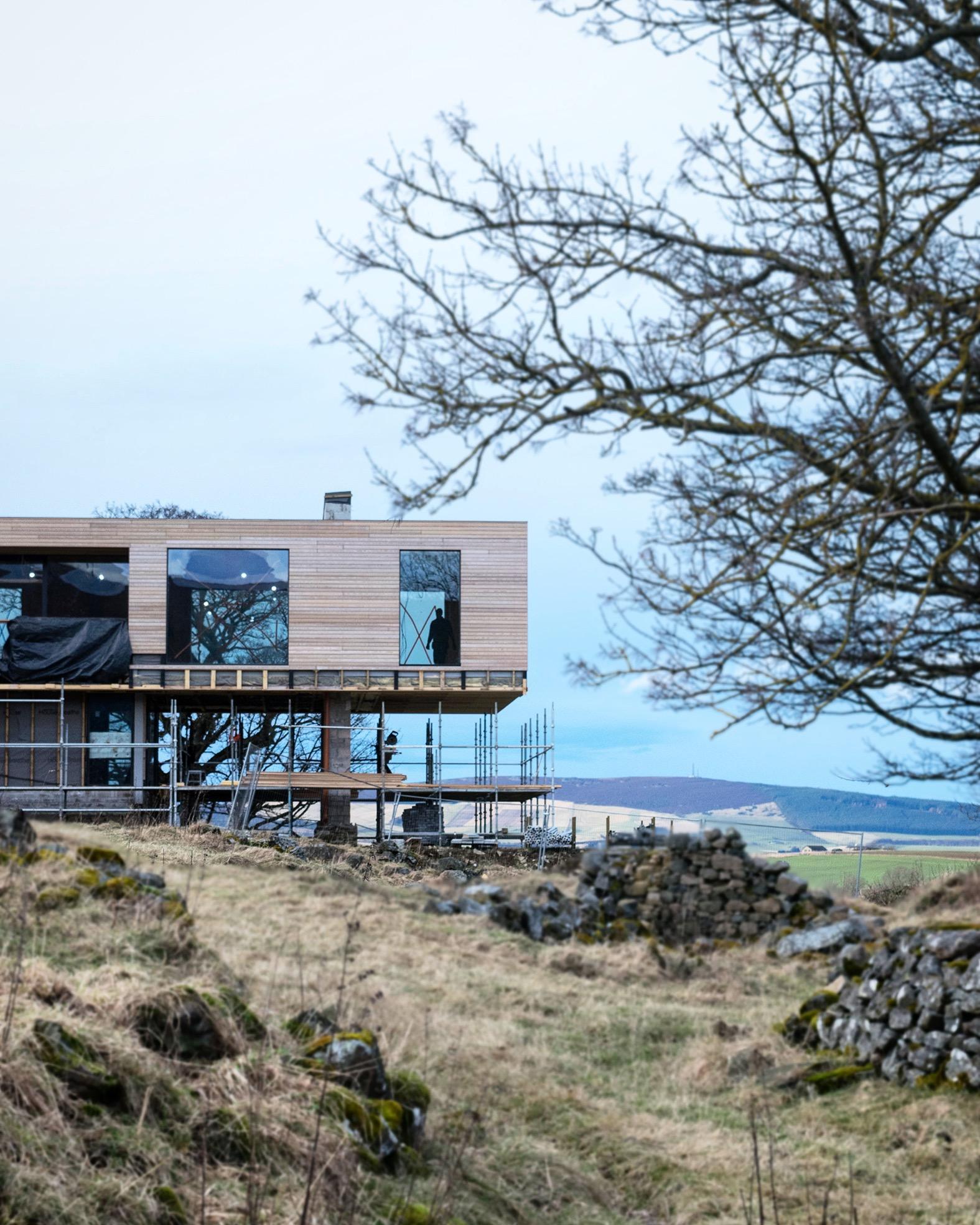 under construction, timber, glass, cantilever, landscape, aberdeenshire, scotland