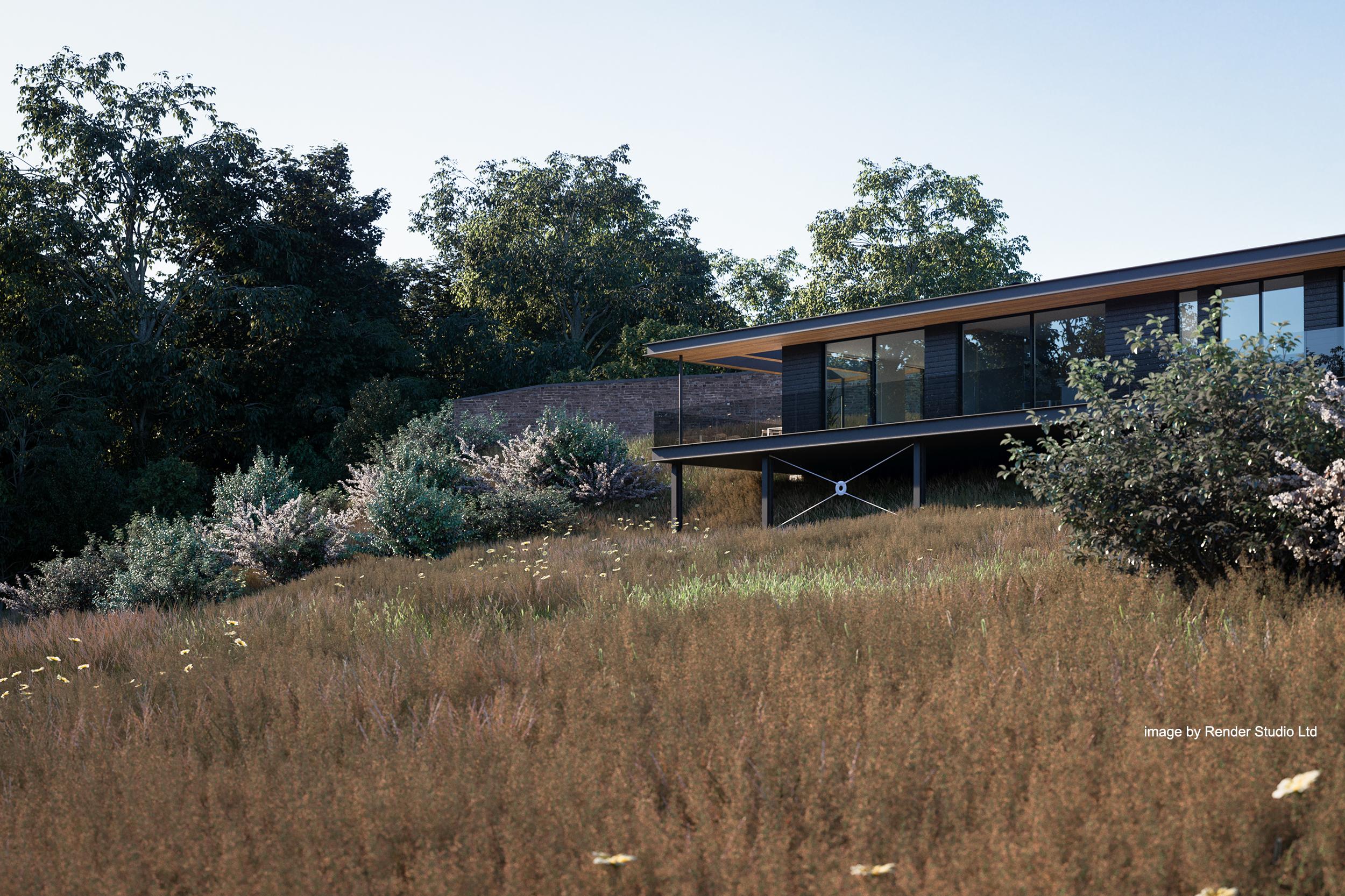 house, cantilever, bespoke, raised, timber, glass, landscape