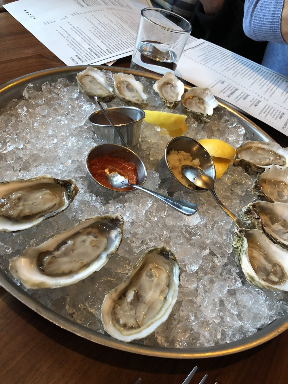 Oysters at Lucky's Roanoke