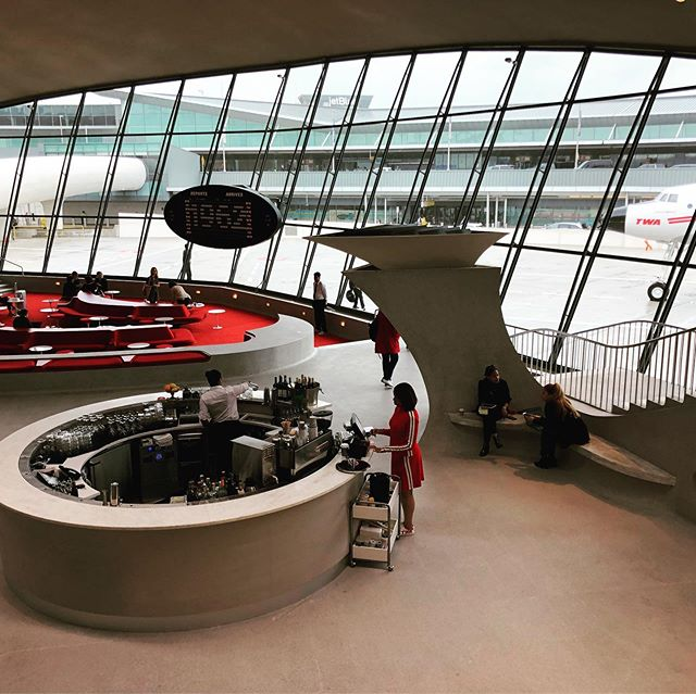 Don't miss a chance to enjoy a few minutes or even a weekend at the @twahotel - it's the ultimate trip to the the vintage jet-age era! This view is from the Lisbon Lounge area.