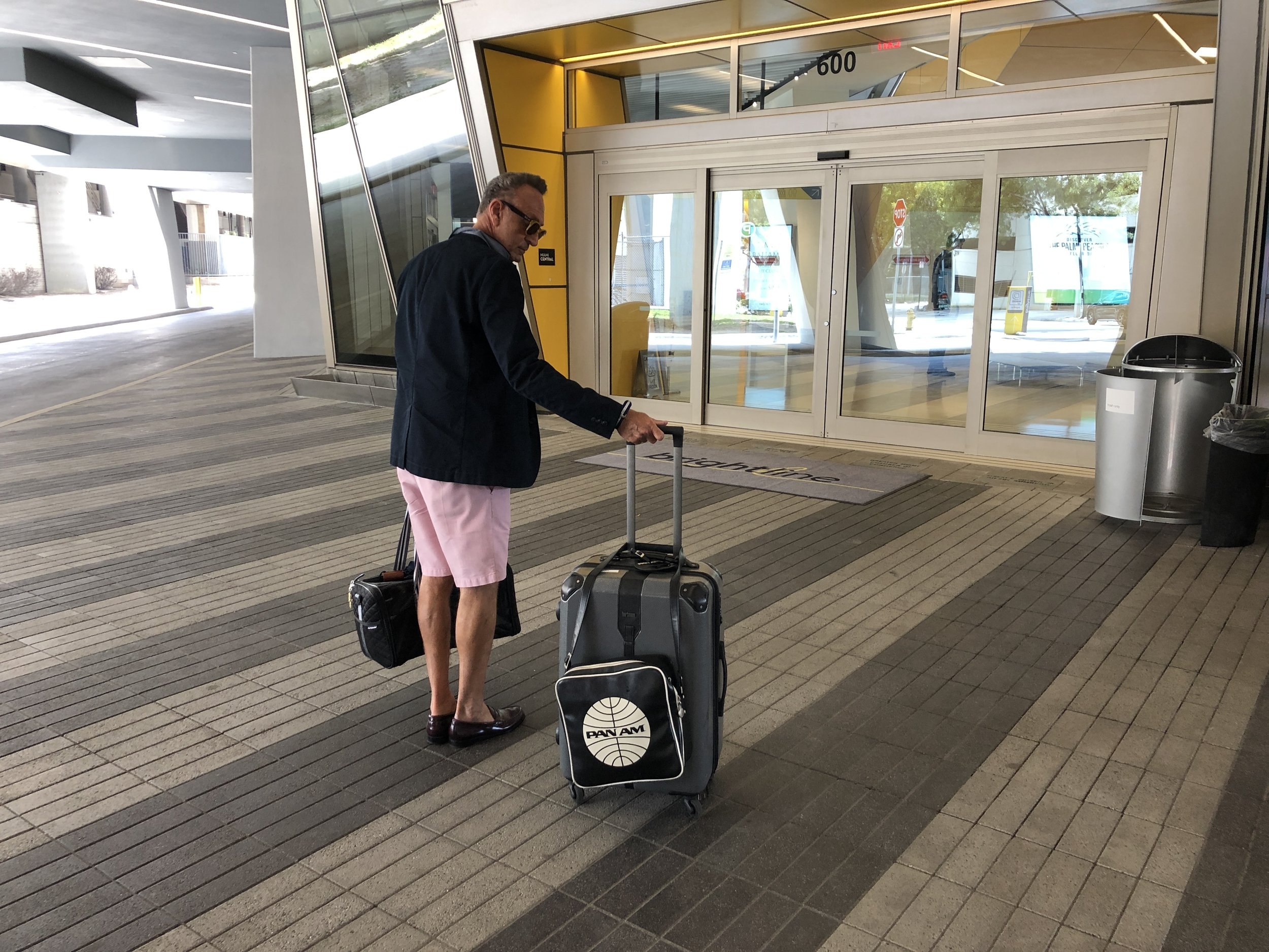 Stephen uses a roll aboard suitcase to easily transport catalogs and samples for day trip to his store in West Palm Beach.