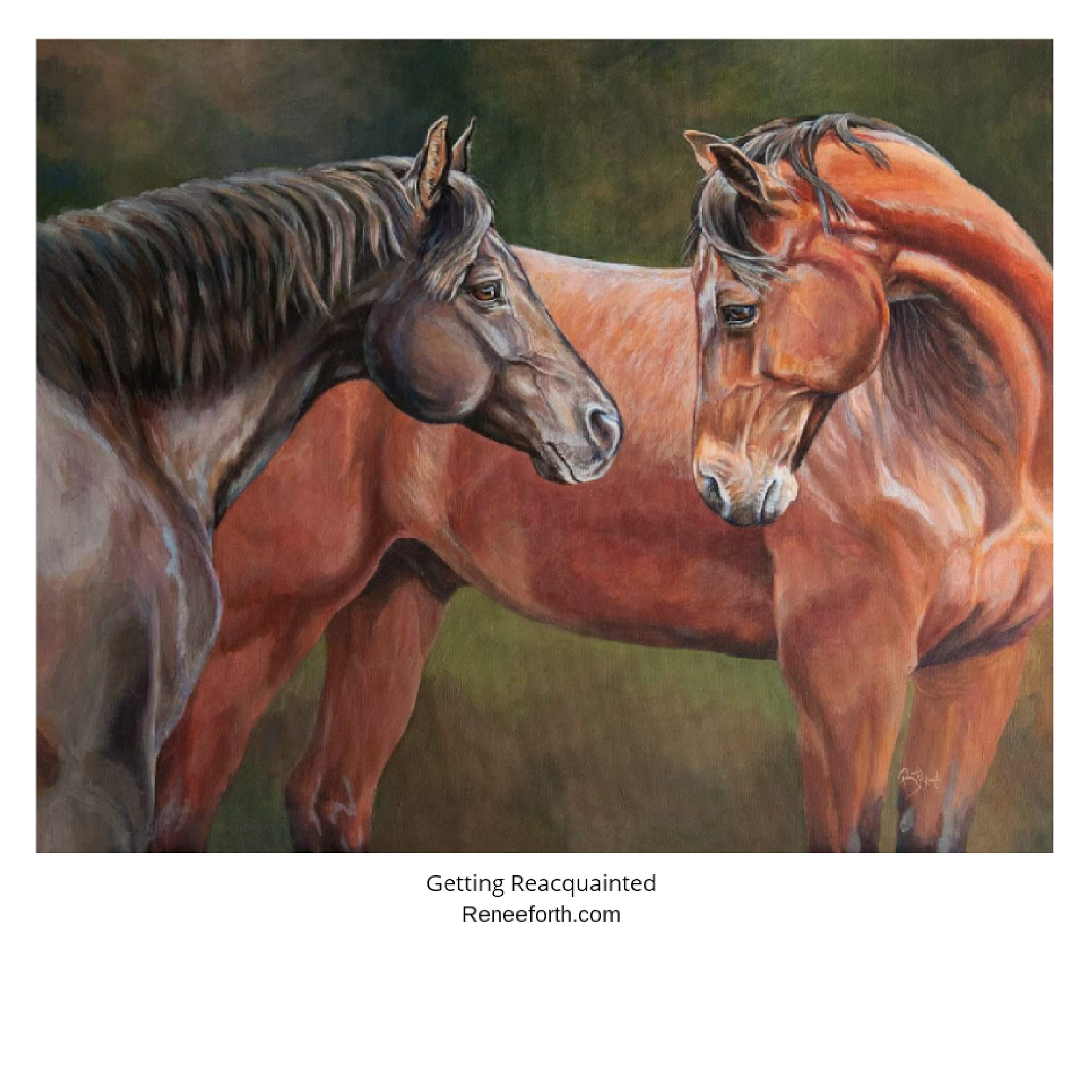 Getting Reacquainted, acrylic on canvas, 16x20. Copyright Renee Forth-Fukumoto.  Two horses greeting after a separation period, painted in a realistic style.