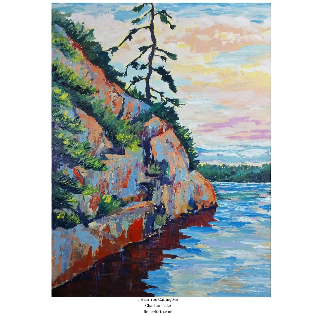 This lake and landscape impressionist style palette knife painting was created in studio using photos I'd taken while staying at Charlton Lake, Ontario. I love using photos as a jumping off point for my imagination and feelings rather than merely recording what the camera caught in a moment of time.