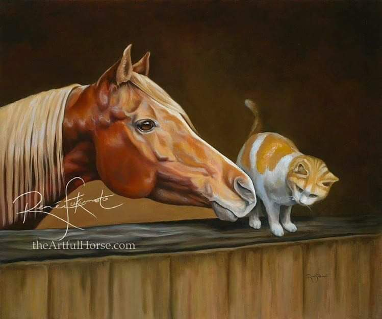 """Confidante"", Chestnut Arabian Horse with barn cat. Original is SOLD. Private Collection."