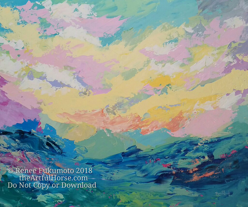 """Joyful Tumult, Acrylic on Canvas, 24""""x30""""x1.5""""  Wind, sky and sea dance together in effortless abandon. Palette knife swoops and stretches swathes of colour and energy throughout the canvas, echoing the joyous tumult of the ocean waves. All that's missing is the scent of the salt wind and the cry of sea birds."""