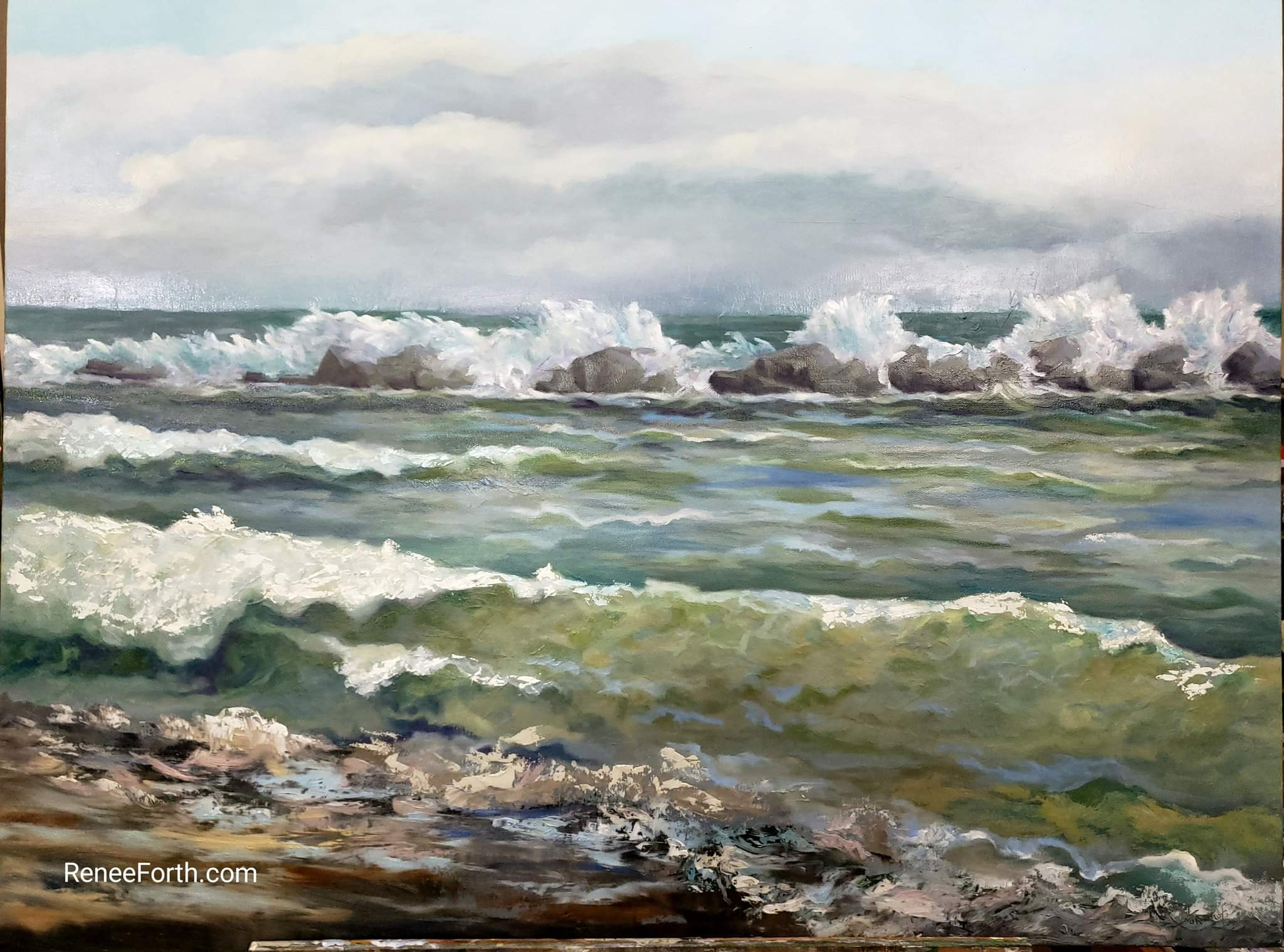 "Refuge, Oils on Canvas, 30"" x 40"" x 1.5"". Waves roll into the shore after spending their wild energy on the Rocky breakwater."