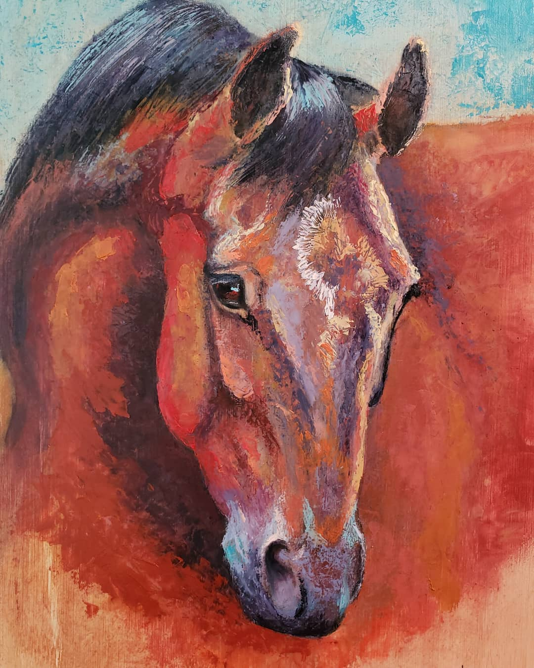 """Close up, Horse portrait. """"Curious"""", mixed media on Bamboo Cutting Board, 10"""" x 15"""", Copyright Renee Forth-Fukumoto"""